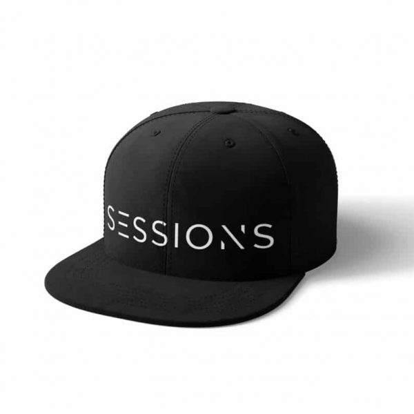 Black flex fit hat with white sessions text logo