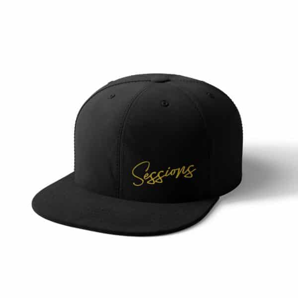 Black flex fit hat with retro golden sessions cursive text logo