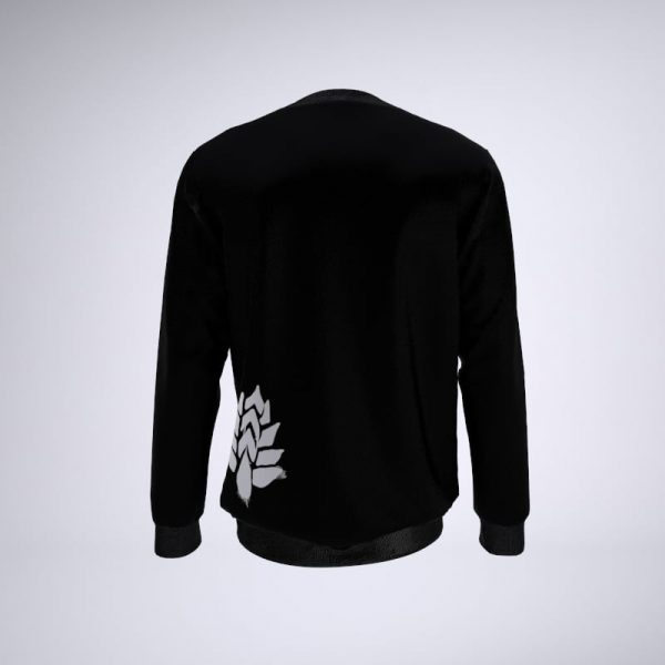 Back of black sweater with sessions flower logo on lower left