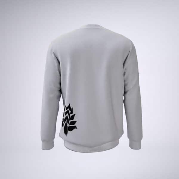 Back of white sweater with sessions flower logo on lower left
