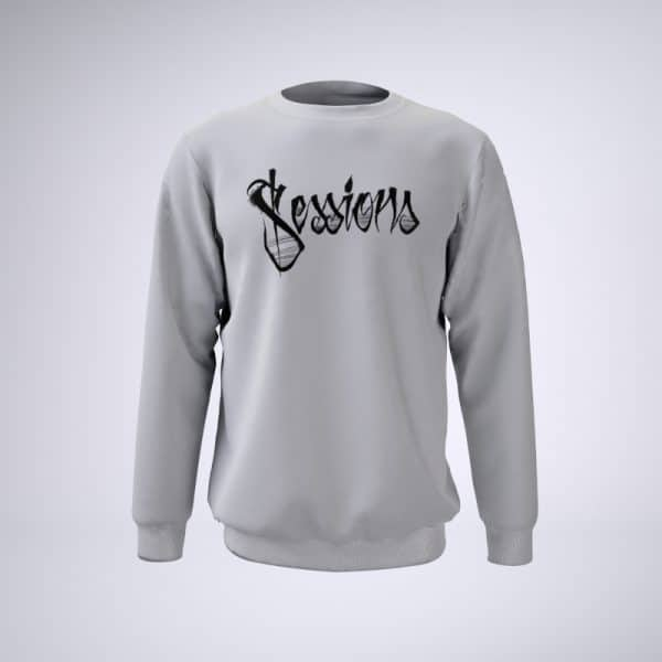 White sweater with stylized Sessions text logo in black