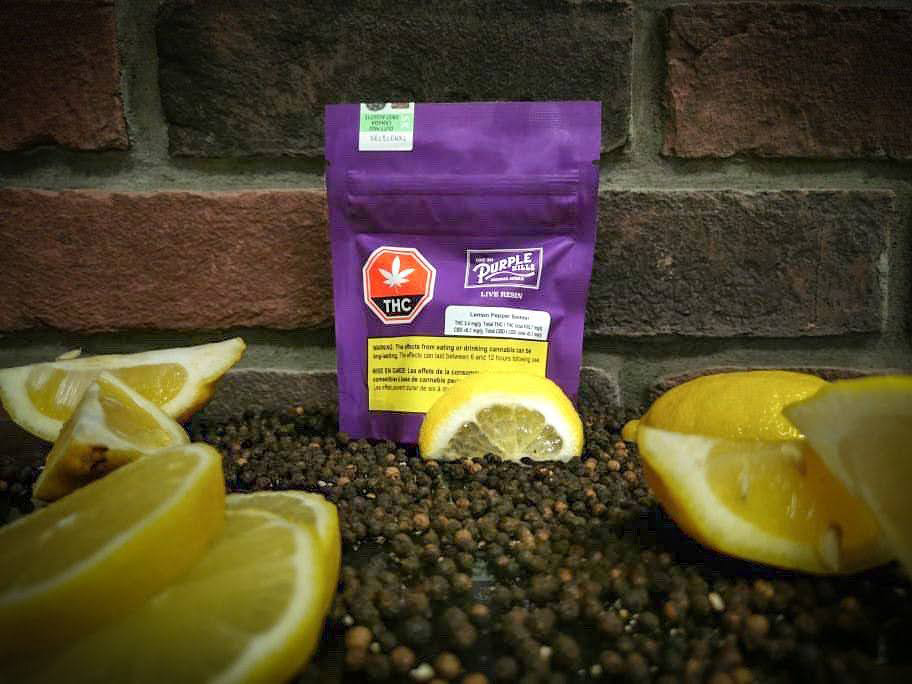 purple-cannabis-concentrate-package-containing-live-resin-surrounded-by-lemons-on-a-bed-of-peppercorns